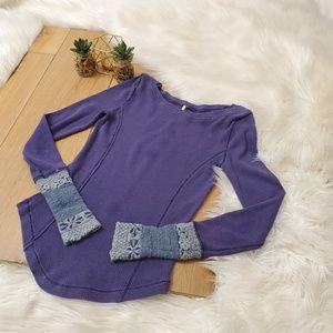 Free People Purple Waffle Knit Thermal #